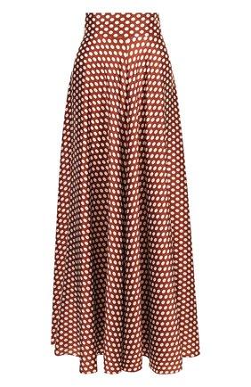 Шелковая юбка-макси в горох Diane Von Furstenberg светло-коричневая   Фото №1