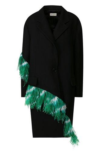 Шерстяное пальто с перьевой отделкой