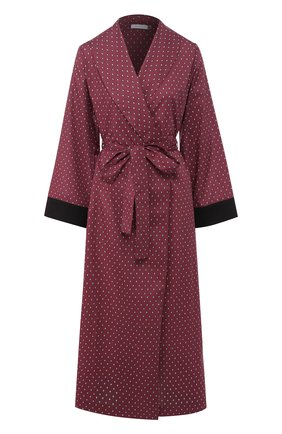 Хлопковый халат с поясом и принтом YOLKE фиолетовый   Фото №1