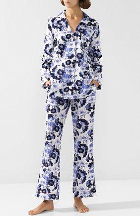 Хлопковая пижама с принтом YOLKE синяя   Фото №1
