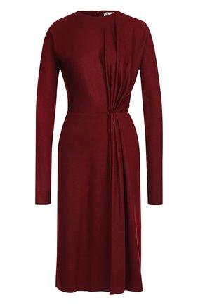 Шерстяное платье с круглым вырезом и драпировкой | Фото №1