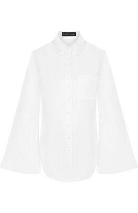 Однотонная хлопковая блуза с расклешенными рукавами | Фото №1