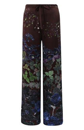 Шелковые домашние брюки с эластичным поясом и принтом | Фото №1