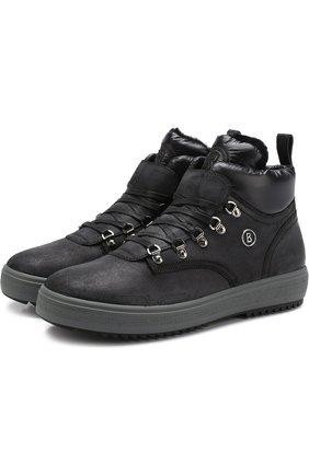Кожаные ботинки с внутренней маховой отделкой Bogner черные | Фото №1