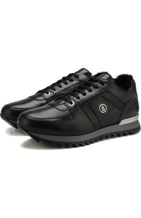 Кожаные кроссовки с внутренней маховой отделкой Bogner черные | Фото №1
