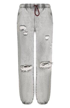 Джинсы с потертостями и эластичным поясом Denim X Alexander Wang светло-серые | Фото №1