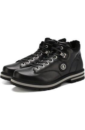 Кожаные ботинки с внутренней меховой отделкой Bogner черные | Фото №1