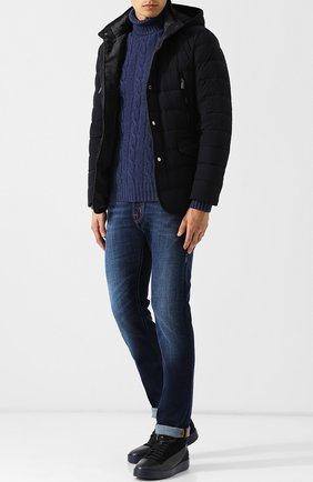 Шерстяной свитер фактурной вязки Daniele Fiesoli синий | Фото №1