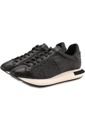 Кожаные кроссовки на шнуровке Manuel Barcelo черные   Фото №1