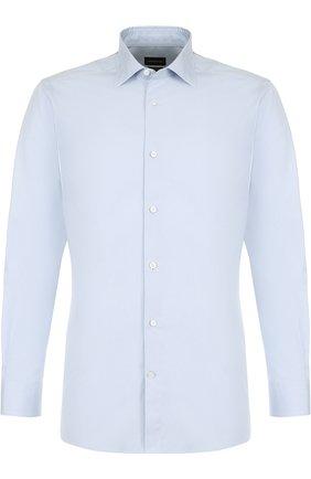 Мужская хлопковая сорочка с воротником кент ERMENEGILDO ZEGNA светло-голубого цвета, арт. 401064/9HS0MT | Фото 1