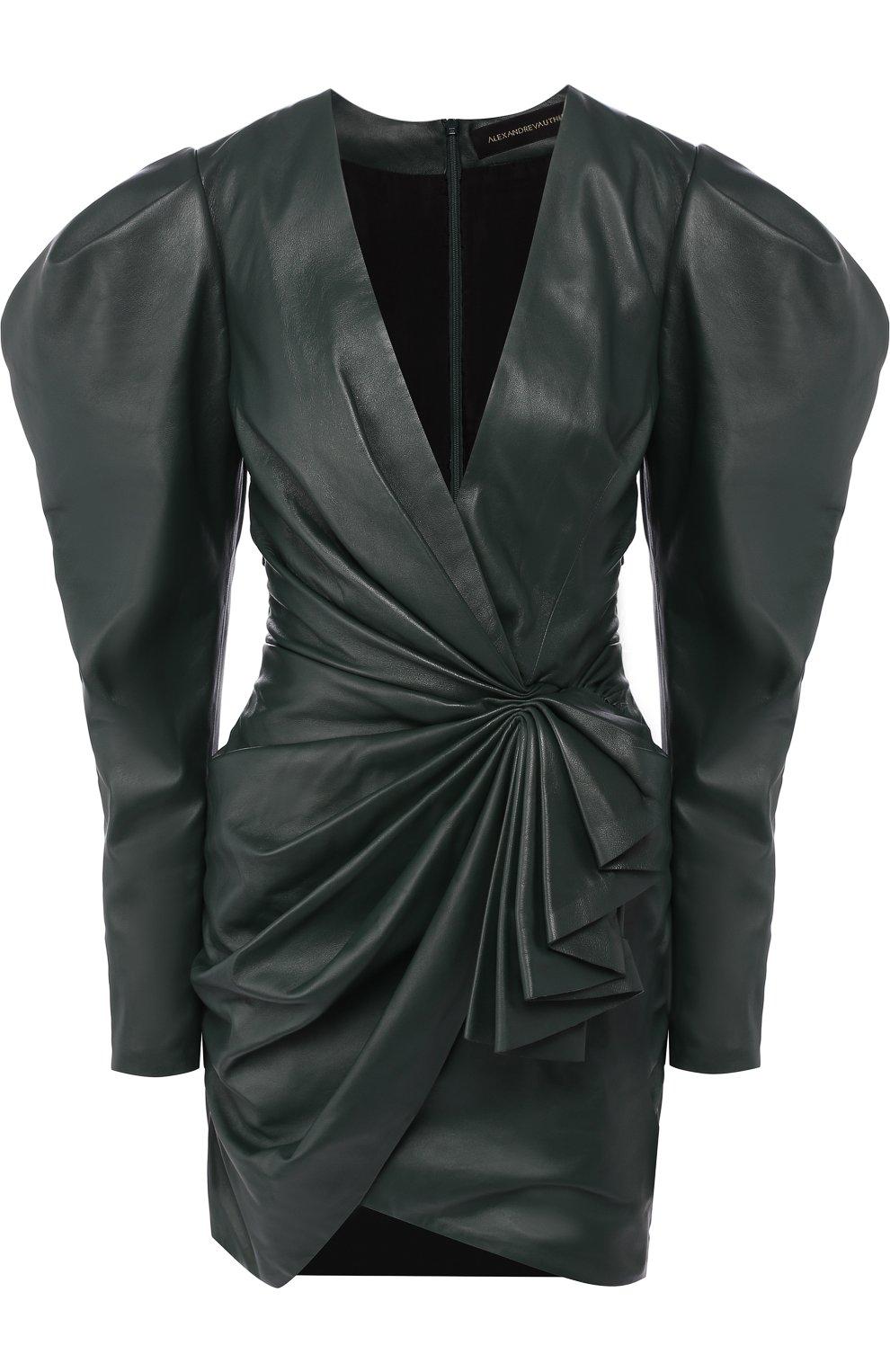 82a54fbf438 Кожаное мини-платье с V-образным вырезом и драпировкой Alexandre Vauthier  зеленое