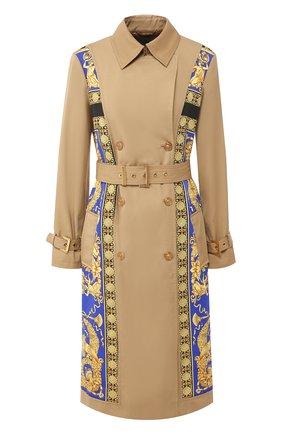Двубортное пальто из смеси хлопка и шелка с поясом Versace разноцветного цвета | Фото №1