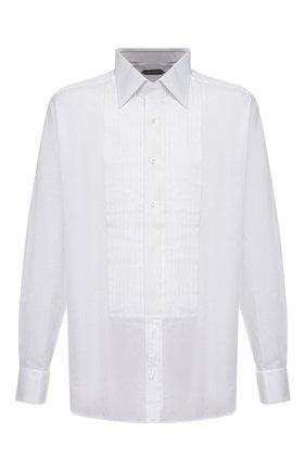 Мужская хлопковая сорочка под смокинг TOM FORD белого цвета, арт. 4FT287/94SIJE | Фото 1
