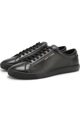Мужские кожаные кеды на шнуровке SAINT LAURENT черного цвета, арт. 533615/0M500 | Фото 1