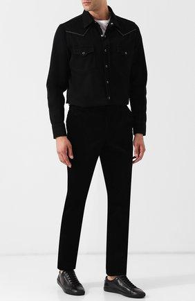 Мужские кожаные кеды на шнуровке SAINT LAURENT черного цвета, арт. 533615/0M500 | Фото 2