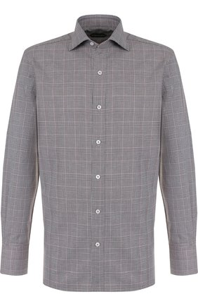 Мужская хлопковая рубашка с воротником кент TOM FORD коричневого цвета, арт. 4FT182/94C1AX | Фото 1