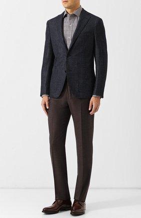 Мужская хлопковая рубашка с воротником кент TOM FORD коричневого цвета, арт. 4FT182/94C1AX | Фото 2