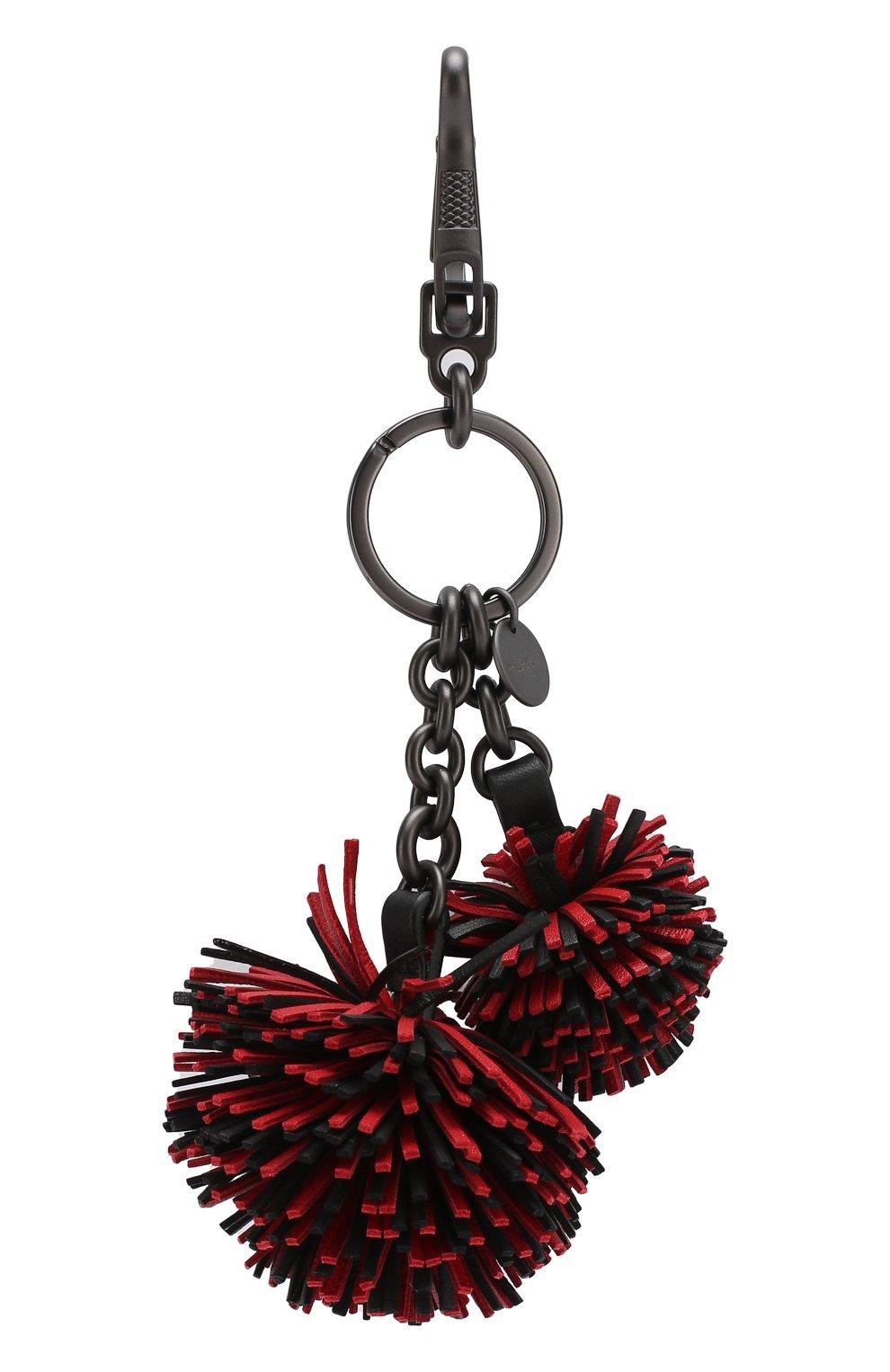 Брелок для ключей с кожаными подвесками Bottega Veneta красный | Фото №2