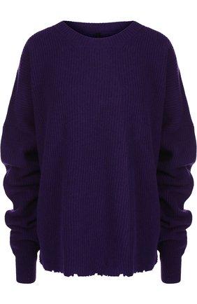 Вязаный пуловер свободного кроя из смеси шерсти и кашемира Ben Taverniti Unravel Project сиреневый | Фото №1