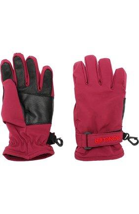 Детские перчатки с кожаной отделкой MONCLER ENFANT бордового цвета, арт. D2-954-00526-50-53066 | Фото 2