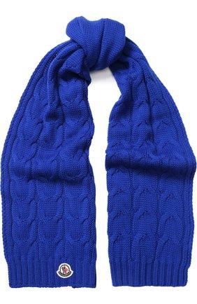 Детский шерстяной шарф фактурной вязки MONCLER ENFANT синего цвета, арт. D2-954-00016-05-04S02 | Фото 1