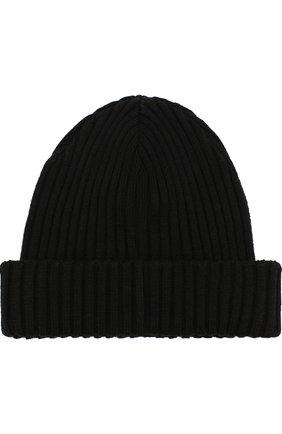 Шерстяная шапка фактурной вязки с логотипом бренда Paul&Shark черного цвета | Фото №1