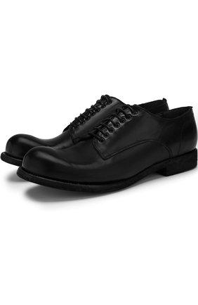 Кожаные дерби на шнуровке Officine Creative черные   Фото №1