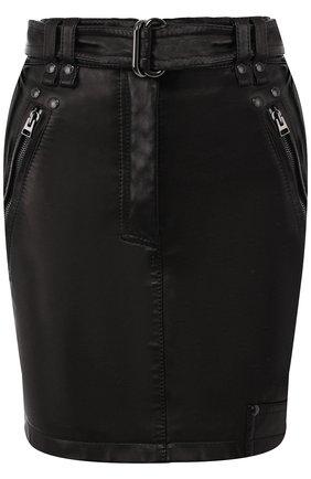 Женская кожаная мини-юбка с поясом TOM FORD черного цвета, арт. GCL751-LEX194 | Фото 1