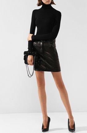 Женская кожаная мини-юбка с поясом TOM FORD черного цвета, арт. GCL751-LEX194 | Фото 2
