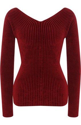 Вязаный пуловер с V-образным вырезом MRZ голубой | Фото №1