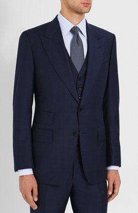 Мужской костюм-тройка из шерсти TOM FORD синего цвета, арт. 422R83/31AL43 | Фото 2