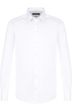Мужская хлопковая сорочка с воротником кент DOLCE & GABBANA белого цвета, арт. G5EJ0T/FM5F3 | Фото 1