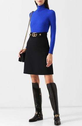 Однотонная шерстяная водолазка с контрастными пуговицами Versace синяя | Фото №1