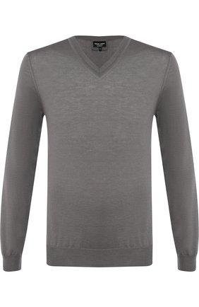 Мужской кашемировый пуловер тонкой вязки GIORGIO ARMANI светло-серого цвета, арт. 6ZSM07/SM05Z | Фото 1