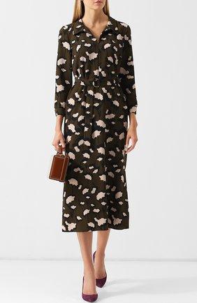 Платье-миди с поясом и принтом Basix Black Label хаки | Фото №1