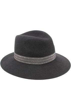 Фетровая шляпа Henrietta с лентой Maison Michel темно-серого цвета | Фото №1