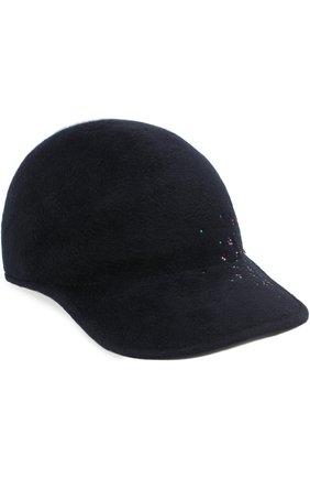 Фетровая кепка Tiger с отделкой стразами Maison Michel темно-синего цвета | Фото №1