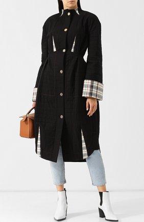 Приталенное хлопковое пальто в контрастными вставками и воротником-стойкой Loewe черного цвета | Фото №1