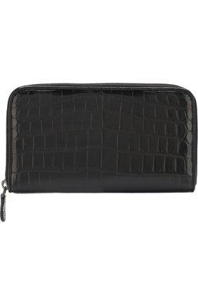 Мужской портмоне из кожи крокодила на молнии BOTTEGA VENETA черного цвета, арт. 311263/V912R/CNIL | Фото 1