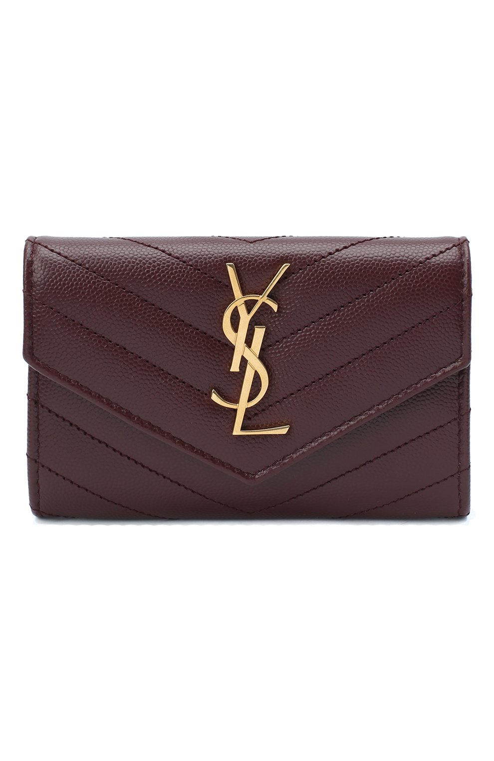 Женские кожаный кошелек monogram SAINT LAURENT бордового цвета, арт. 414404/B0W01 | Фото 1