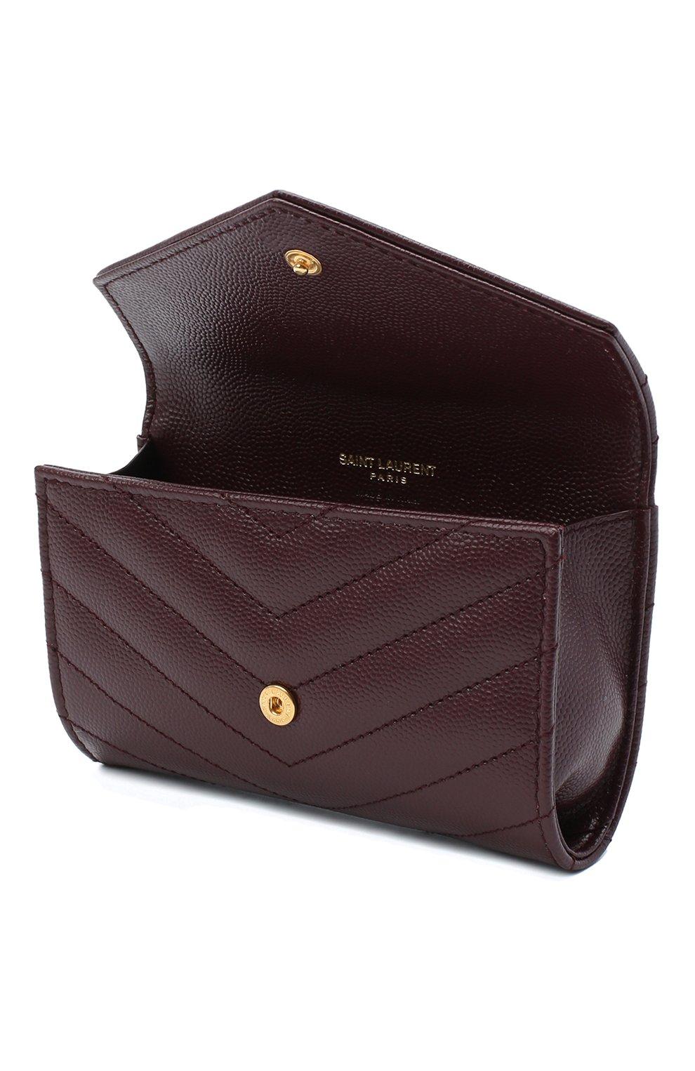 Женские кожаный кошелек monogram SAINT LAURENT бордового цвета, арт. 414404/B0W01 | Фото 3