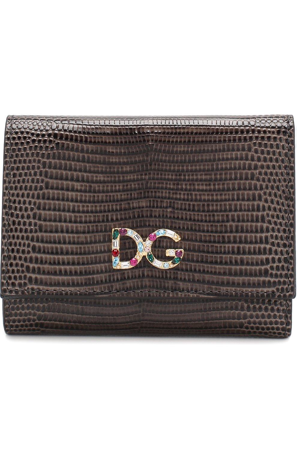 Кожаный кошелек Dolce & Gabbana коричневого цвета | Фото №1