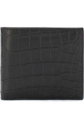 Мужской портмоне из кожи крокодила с отделениями для кредитных карт BOTTEGA VENETA черного цвета, арт. 113993/V912R/CNIL | Фото 1
