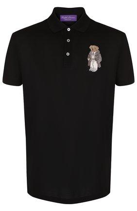 Мужское хлопковое поло с короткими рукавами RALPH LAUREN черного цвета, арт. 790725529 | Фото 1