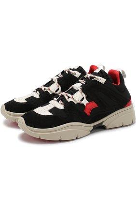 Комбинированные кроссовки Kindsay на шнуровке Isabel Marant черные   Фото №1