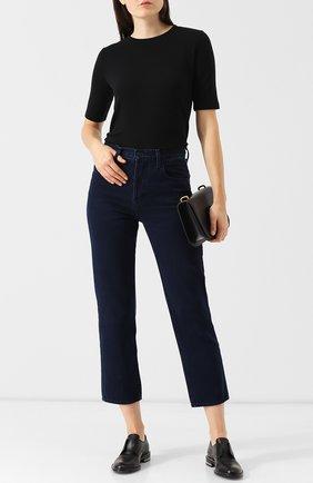 Женская однотонная кашемировая футболка с круглым вырезом GIORGIO ARMANI черного цвета, арт. 6ZAM60/AJUAZ | Фото 2 (Материал внешний: Шерсть, Кашемир; Длина (для топов): Стандартные; Рукава: Короткие; Женское Кросс-КТ: Футболка-одежда; Принт: Без принта)