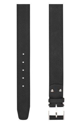Кожаный ремень с металлической пряжкой Zilli черный | Фото №1