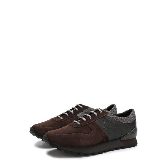 Кожаные кроссовки на шнуровке Kiton — Кожаные кроссовки на шнуровке