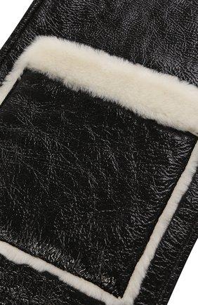 Шарф с отделкой из овчины Yves Salomon черный | Фото №1