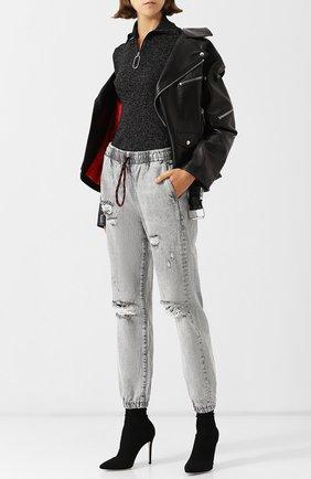 Шерстяной пуловер с воротником-стойкой на молнии Markus Lupfer черный | Фото №1